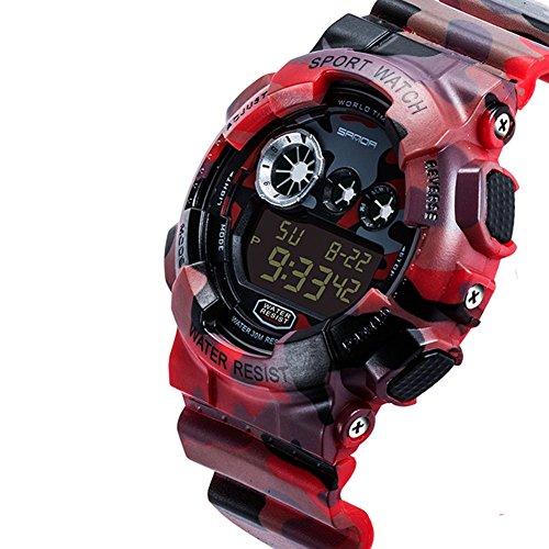 Fenkoo Japanischer Quartz LCD Kalender Chronograph Alarm Caucho Band camuflaje Rot Gruen Grau Marke