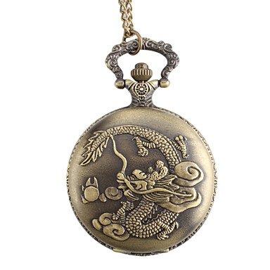 fenkoo Herren Dragon Legierung Analog Quarz Taschenuhr Bronze