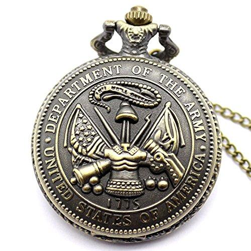 fenkoo Herren Armee Muster Bronze Legierung Quarz Taschenuhr