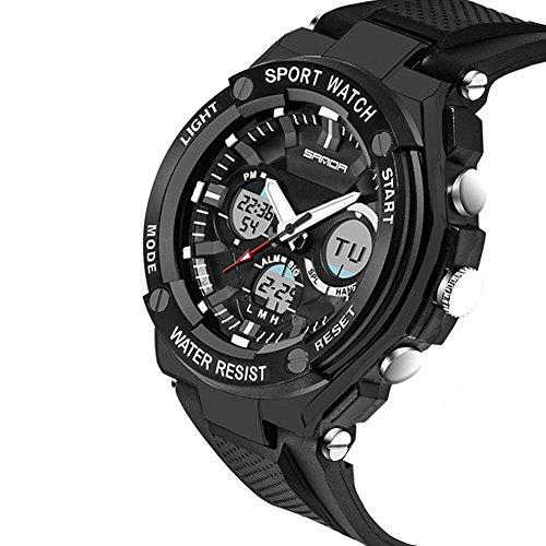 Fenkoo Militaeruhr Smart Uhr Modeuhr Armbanduhr digital Japanischer QuartzLED Chronograph Wasserdicht Duale