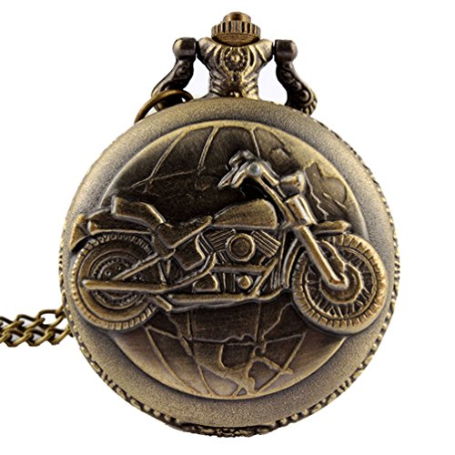 fenkoo Herren Taschenuhren Motorrad Art Legierung Analog Quarz Taschenuhr Bronze