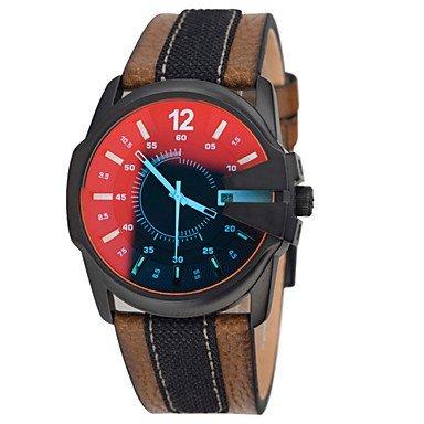 Fenkoo Verfaerbung Uhren wasserdicht mehrere Zeitzonen Bewegung Sport echtes Leder