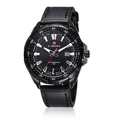 Fenkoo Maenner naviforce Uhrquarz wasserdichte Sport Uhr Kalender echtes Leder Armbanduhr Farbe sortiert