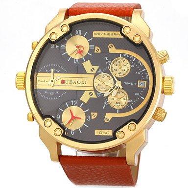 Fenkoo Militaer vier Zeitanzeige Lederband Quarz Armbanduhr der Maenner