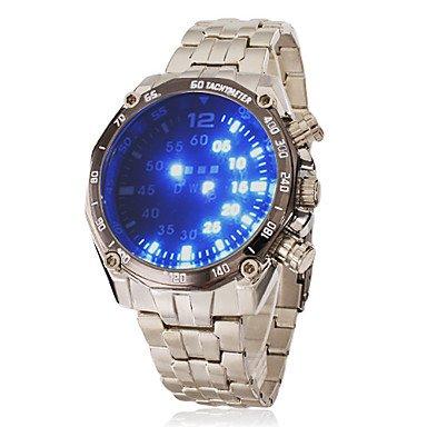 Fenkoo Herren Modeuhr digital LED Edelstahl Band Armbanduhr Silber