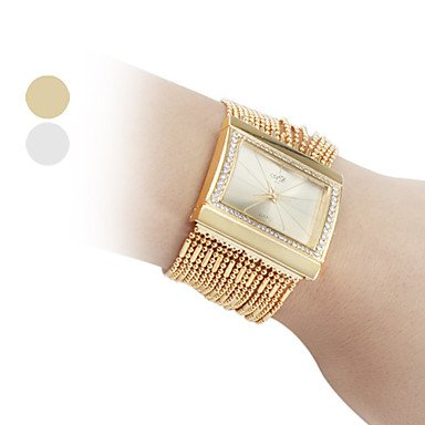 Fenkoo Frauen modische Diamant Legierung Stil Analog Quarz Armband Armbanduhr gold