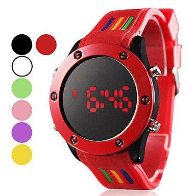 Fenkoo Unisex Sportuhr digital LED Silikon Band Schwarz Weiss Rot Gruen Rosa Lila Gelb