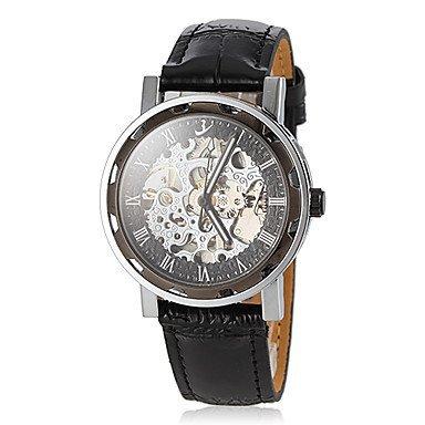 Fenkoo Herren Auto mechanische vintage hohlen Gravur Zifferblatt schwarz Lederband Armbanduhr
