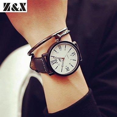 Herrenmode grosse Uhr Persoenlichkeit Leder Quarz analoge Sportuhr verschiedene Farben