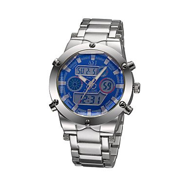 Fenkoo Japanischer Quartz LCD Kalender Chronograph Wasserdicht Alarm Edelstahl Band Armbanduhr Schwarz Silber