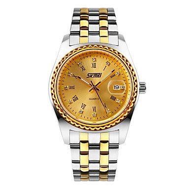 Fenkoo Herren Kleideruhr Japanischer Quartz Kalender Wasserdicht Edelstahl Band Armbanduhr Silber