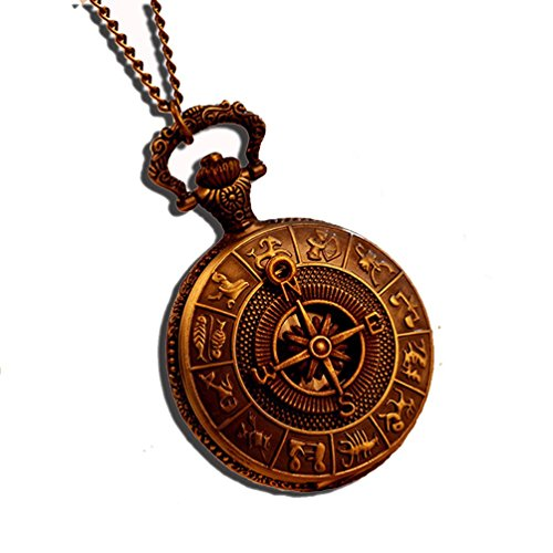 fenkoo Antike Rom Kompass Muster Quarz Analog Vintage Antique Map Taschenuhr Uhr Herren 78 cm Kette Steampunk