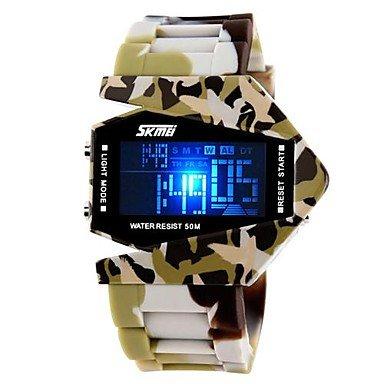 Fenkoo Herren Militaeruhr Japanischer Quartz LED LCD Kalender Chronograph Wasserdicht Silikon Band Blau Braun Grau