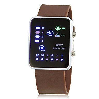 Fenkoo Herren Modeuhr digital LED Kalender Silikon Band Armbanduhr Blau Braun Marinenblau