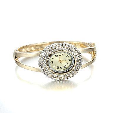 Fenkoo sjewelry Maedchen Quarz weissen Kristall goldene Armbanduhr