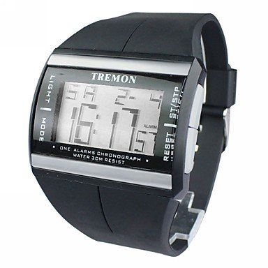 Fenkoo Herren Sportuhr digital LCD Kalender Chronograph Alarm Caucho Band Armbanduhr Schwarz