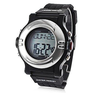 Fenkoo digital LCD Kalender Chronograph Wasserdicht Alarm Silikon Band Schwarz