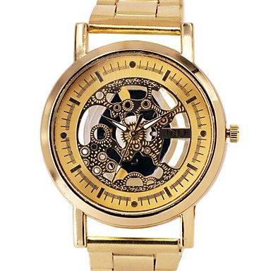 Fenkoo Herren Totenkopfuhr Quartz Transparentes Ziffernblatt Legierung Band Armbanduhr Silber Gold