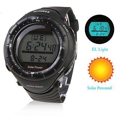 unisex wasserdicht solarbetriebenen Armbanduhr schwarz Chronograph Alarm und EL Licht