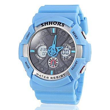unisex zwei Zeitzonen Querwahlsilikonband sportliche Armbanduhr farblich sortiert