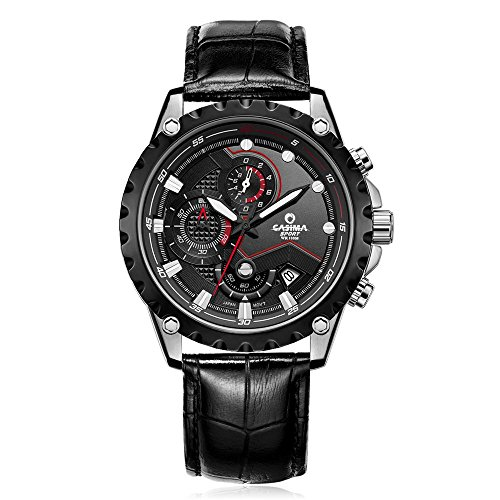 Casima Herren Automatik Chronograph Sport Quarz Leder Band Wasserdicht Handgelenk Uhren 8203 sl7