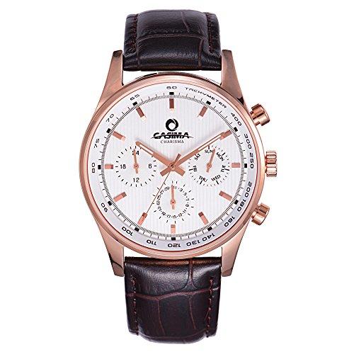 Casima Herren Fashion Business Kalender Chronograph Quarz Edelstahl Leder Band cr 5114 rl48 Handgelenk Uhren