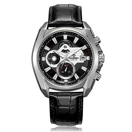 Casima Analog Quarz Sport Chronograph mit Leder Uhren Band 8884 sl7