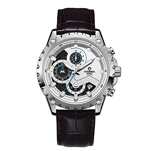 Casima Sport Edelstahl Leder Band Wasserdicht Quarz Handgelenk Uhren 8203 sl8