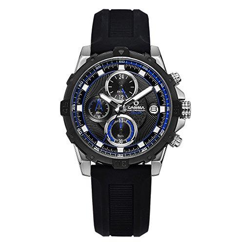 Casima Herren Multifunktions Sport Chronograph Wasserdicht Silikon Band Quarz Uhren 8306 sp75b