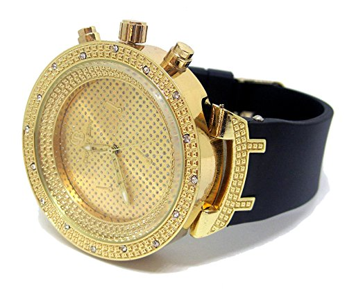 Bling Bling Online Klassische Armbanduhr Pave 3D Luenette Hip Hop funkelnd Gold Schwarz