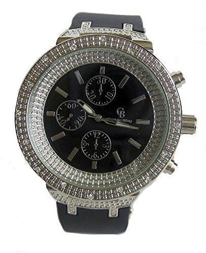 Herren versilbert Faux Diamant Luenette Rubber Strap HipHop Bling Armbanduhr