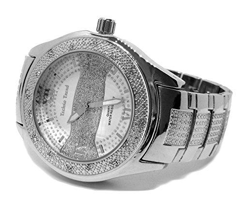 Techno Trend Sandblast Streifen Faux Diamant HipHop Herren Armbanduhr