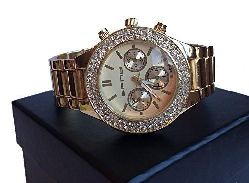vergoldet 3 CHRONO STYLE HipHop Bling Faux Diamant Luenette Armbanduhr