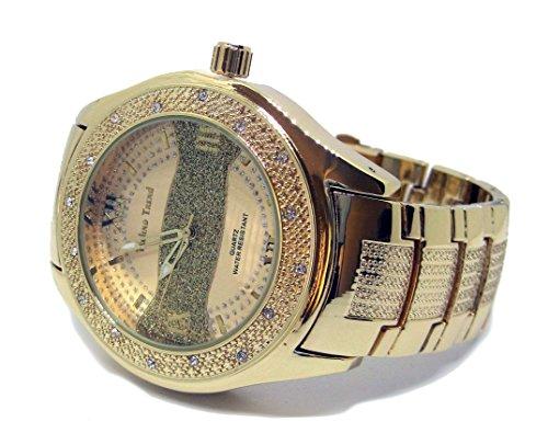Techno Trend vergoldet Sandblast Streifen Faux Diamant HipHop Herren Armbanduhr