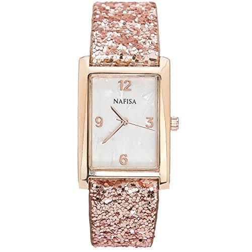 City naf sa Rotgold quadratisch Muschel Zifferblatt glitzernde Lederband Armbanduhr NA 0010