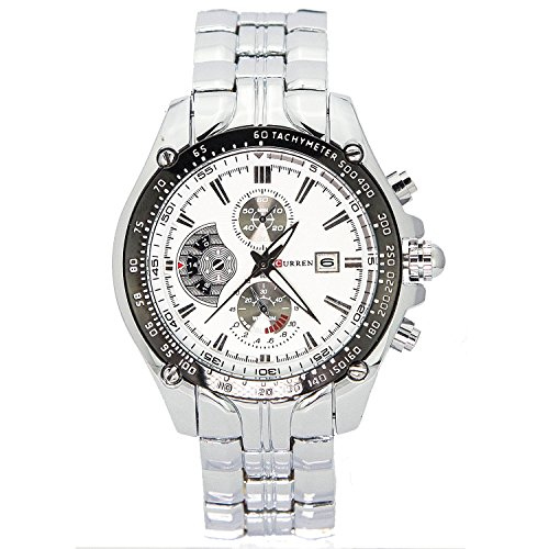 City Herren Fashion Silber Fall Dekorative Chronograph Edelstahl Armband Armbanduhr