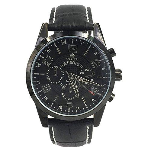 City schwarz Edelstahl Fall Chronograph Zifferblatt schwarz Lederband Armbanduhr