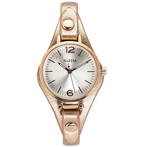 City naf sa Damen Elegante Fashion Rose Gold Armband Leder Farbe na 0008