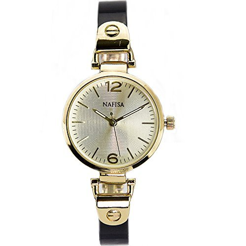 City naf sa Damen Elegante Fashion Gold Farbe Fall Schwarz Armband Stil Armbanduhr na 0001
