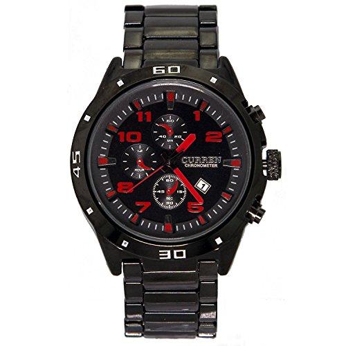 City Herren Fashion Schwarz Fall Dekorative Chronograph Edelstahl Armband Uhr