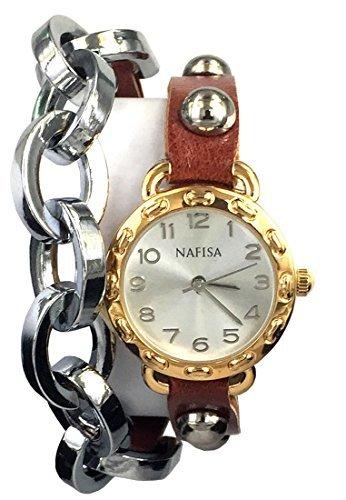 City naf sa Frauen runden Zifferblatt Metall Kette Leder mit Nieten Double Wrap Strap Armbanduhr na 0025