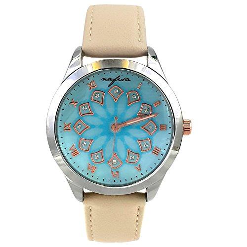 City naf sa Damen hellblau Zifferblatt Beige Lederband Fashion Armbanduhr na 0030