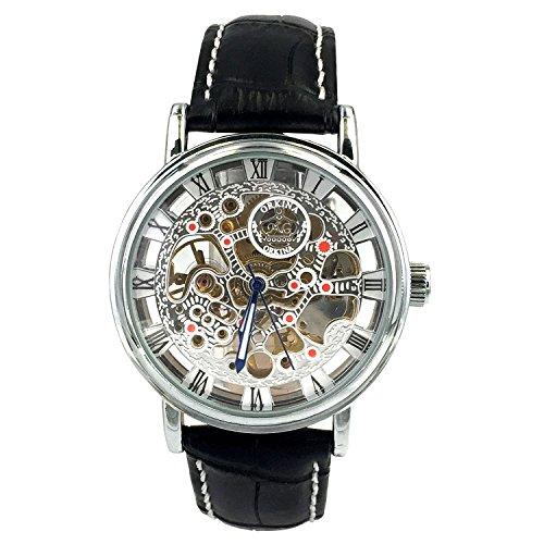 City Herren Silber Fall Hohl mechanische Zifferblatt Quarz Lederband Armbanduhr kc 112sb
