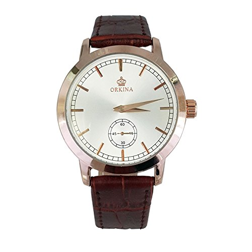 City Original Elegante Herren s Rose Gold Fall Japan Quarz Braun Lederband Armbanduhr