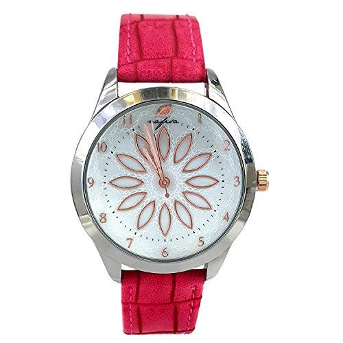 City naf sa Damen weiss Zifferblatt pink Farbe Krokodil Haut Muster Lederband Armbanduhr na 0028