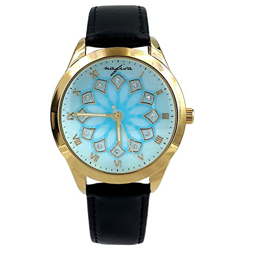 City naf sa Damen Baby Blau Zifferblatt Schwarz Lederband Armbanduhr na 0029