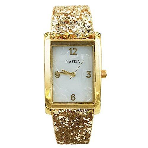 City Square naf sa Gold Damen Seashell Zifferblatt Sparkling Lederband Armbanduhr na 0016