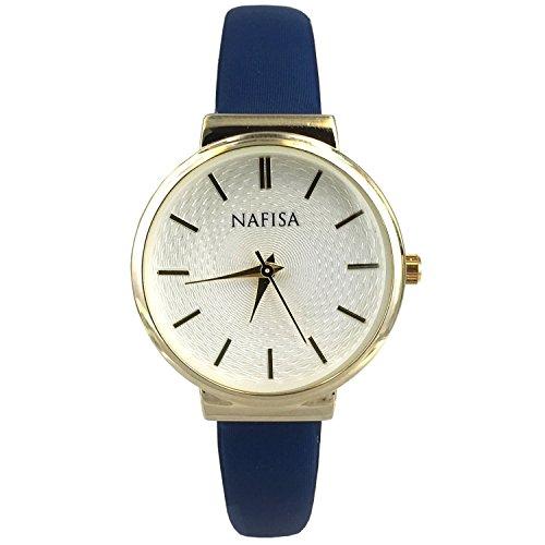 Nafisa Damen Fashion klein gold Farbe Fall Blau Stoff Gurt Armbanduhr NA 0038B