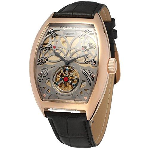 forsining Herren Stilvolle automatische Tourbillon Tonneau Zifferblatt Armbanduhr fsg9409 m3r2