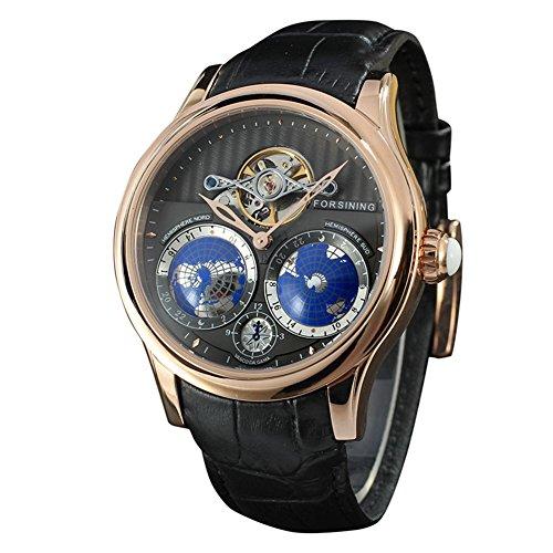 forsining Herren Luxus Automatik Uhr mit Weltkarte Tourbillon Bewegung Edelstahl